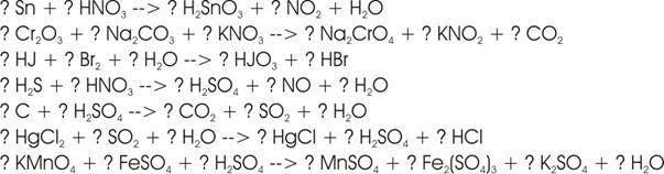 Oxidationszahlen, Redoxgleichungen